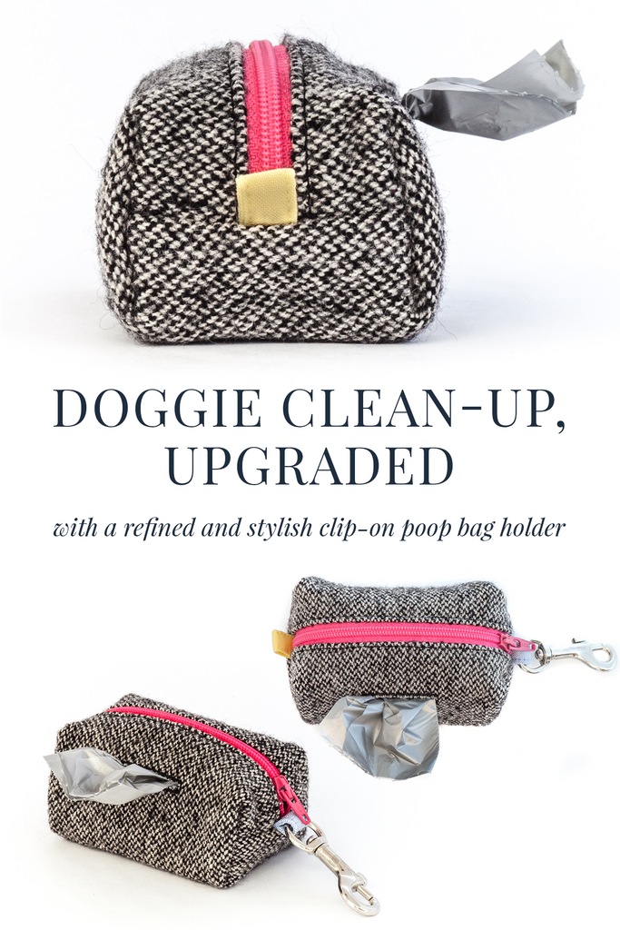 Upgrade your doggie clean-up experience with a refined and stylish clip-on poop bag holder