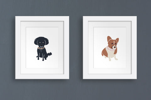 framed custom pet portrait illustrations by Oxford Dogma