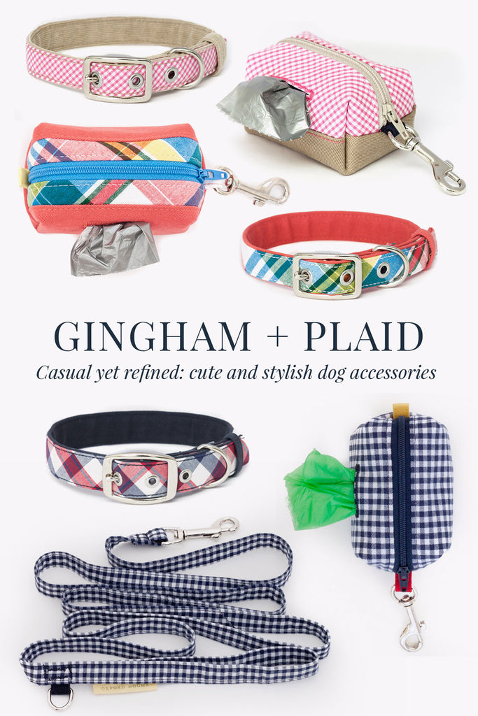 A collection of stylish handmade dog collars and accessories in preppy gingham and plaid
