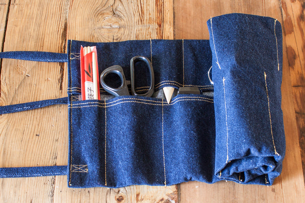 Learn to sew a denim tool roll