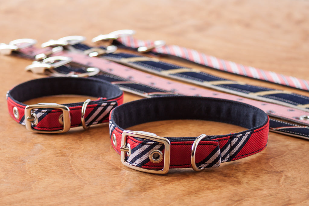dog collars made from upcycled silk ties and clothing
