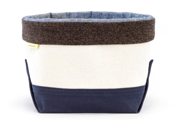 Canvas pet toy organizing bin with herringbone trim — classic style inspired by boat totes | oxforddogma.com
