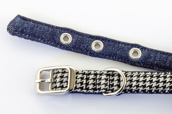 This classic dog collar is made from reclaimed materials in black and white houndstooth with denim | oxforddogma.com
