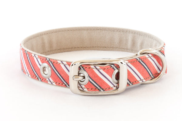 Traditional Dog Collar with metal buckle in pink stripes | oxforddogma.com