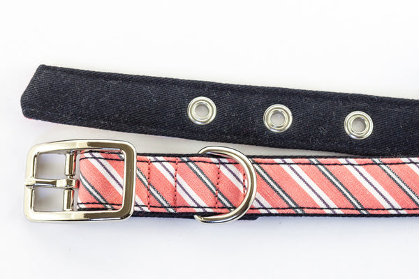 This classic dog collar is made from reclaimed materials in pink stripes with navy | oxforddogma.com