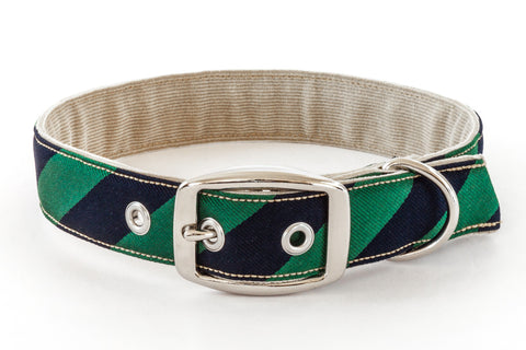 Traditional Dog Collar with metal buckle in navy blue and green | oxforddogma.com