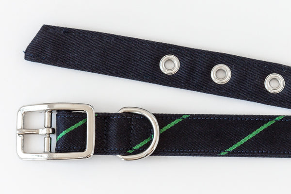 This classic dog collar is made from reclaimed materials in navy blue with green stripes | oxforddogma.com