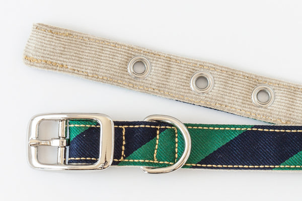This classic dog collar is made from reclaimed materials in navy blue and green stripes | oxforddogma.com