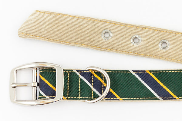 This classic dog collar is made from reclaimed materials in green with navy blue and yellow | oxforddogma.com