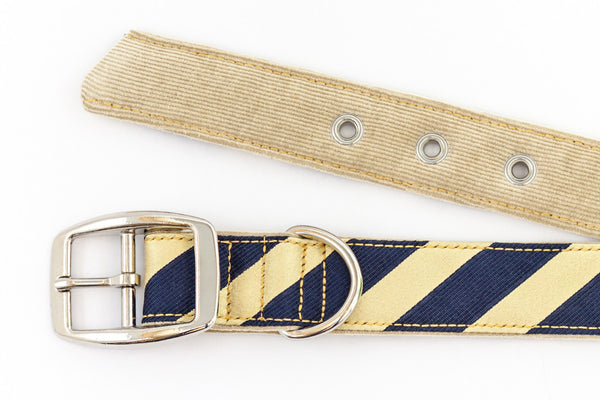 This classic dog collar is made from reclaimed materials in navy blue and yellow | oxforddogma.com