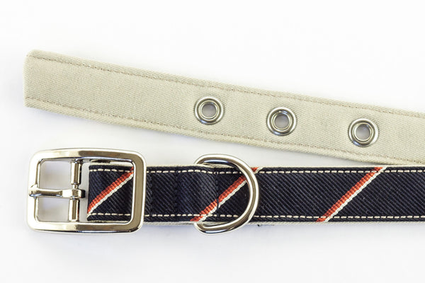 This classic dog collar is made from reclaimed materials in navy blue and red with tan | oxforddogma.com