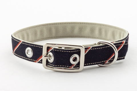 A classic dog collar made from reclaimed materials with a nickel finish metal buckle | oxforddogma.com