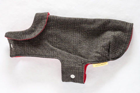 Refined and timeless jacket with a cute collar for a small dog made from blue plaid reclaimed wool with a soft and cozy red flannel lining | oxforddogma.com