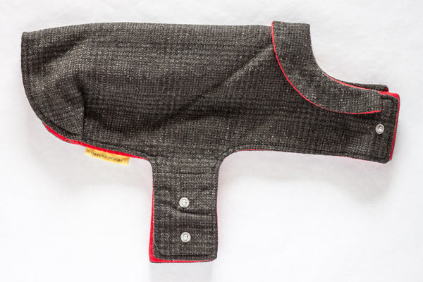 Refined and timeless jacket for a small dog made from navy plaid reclaimed wool with a soft and cozy red flannel lining | oxforddogma.com