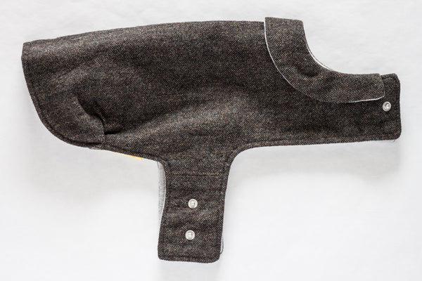 Refined and timeless jacket for a small dog made from navy and olive tweed reclaimed wool with a soft and cozy grey flannel lining | oxforddogma.com