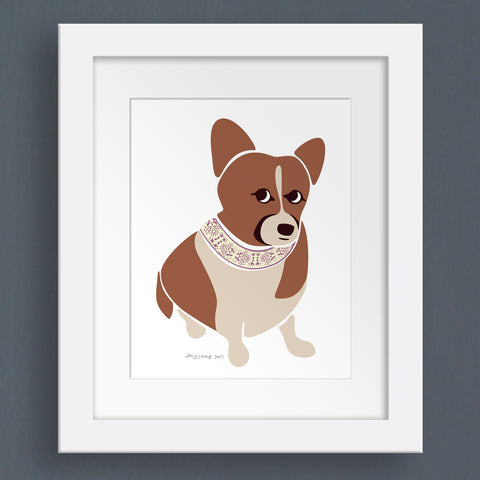 Custom pet portrait of Angie the Corgi - printed and framed | oxforddogma.com