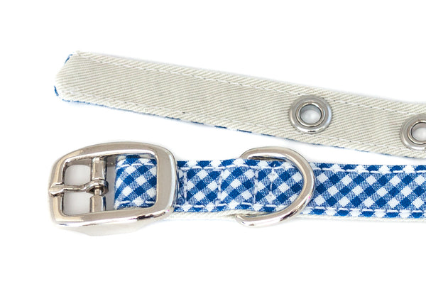 This classic dog collar is handcrafted from reclaimed materials in blue and white gingham | oxforddogma.com