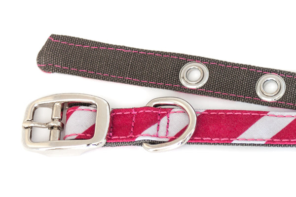 This classic dog collar is handcrafted from reclaimed materials in pink and grey stripes | oxforddogma.com