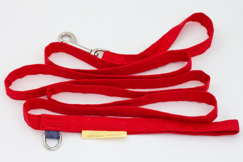 Lightweight classic 6-foot cotton red dog leash for small dogs | oxforddogma.com