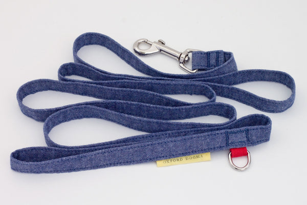 Lightweight classic 6-foot cotton chambray dog leash for small dogs | oxforddogma.com