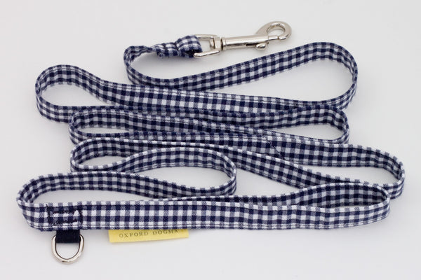 Lightweight classic 6-foot cotton gingham dog leash for small dogs | oxforddogma.com