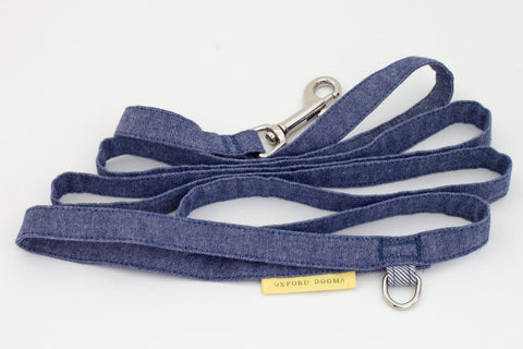 Park Standard Blue Chambray Cotton Dog Leash | oxforddogma.com