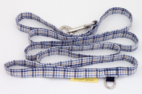 Lightweight classic 6-foot cotton plaid dog leash for small dogs | oxforddogma.com
