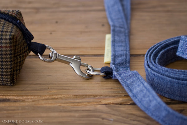 Park Standard Blue Chambray Cotton Dog Leash accessory ring for attaching leash pouch | oxforddogma.com