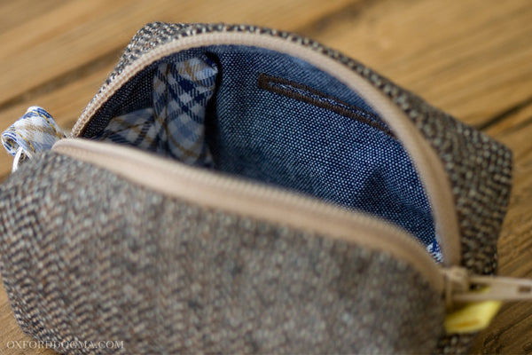 Road Trip Leash Pouch in Brown Herringbone Cotton with Chambray Lining
