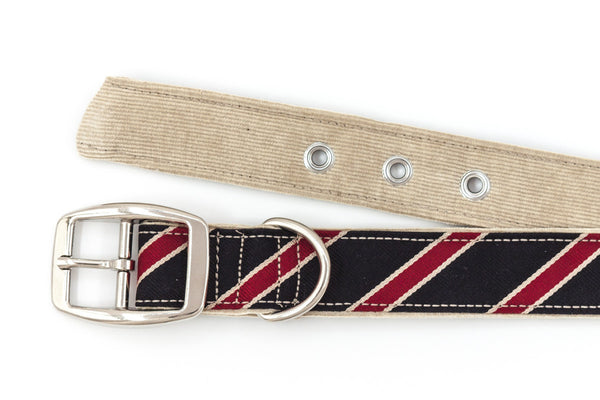 This classic dog collar is handcrafted from reclaimed materials in navy, red, and tan | oxforddogma.com
