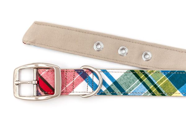 This classic dog collar is handcrafted from reclaimed materials in Madras plaid and tan | oxforddogma.com