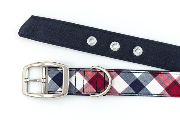 This classic dog collar is handcrafted from reclaimed materials in red, white, and blue plaid | oxforddogma.com