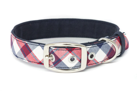 A large classic dog collar handcrafted from reclaimed materials with a nickel finish metal buckle | oxforddogma.com