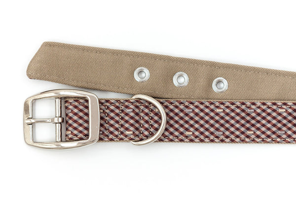 This classic dog collar is handcrafted from reclaimed materials in rust, blue, and tan gingham | oxforddogma.com
