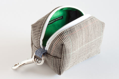 Stylish and refined poo bag dispenser in plaid with green lining | oxforddogma.com