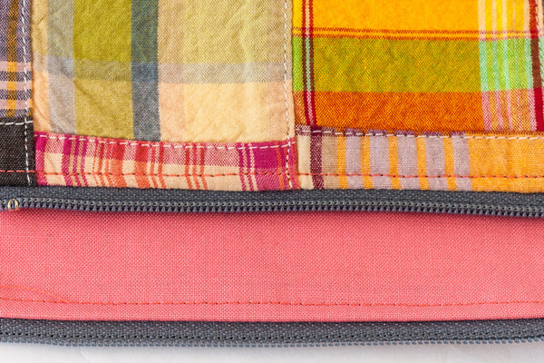 Road Trip leash pouch patchwork madras exterior with lining in coral pink | oxforddogma.com