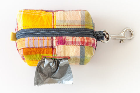 Road Trip Leash Pouch in patchwork madras plaid | oxforddogma.com