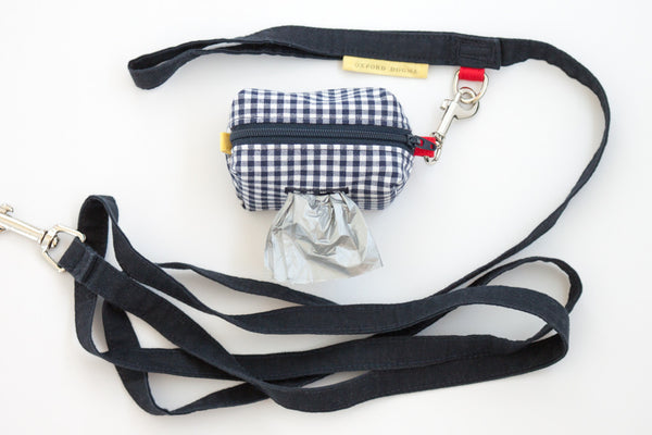 Set of matching Road Trip Leash Pouch and Park Standard Leash in navy and red | oxforddogma.com
