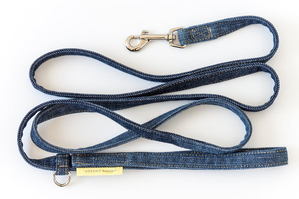 6-foot reclaimed denim dog leash for small and medium dogs | oxforddogma.com