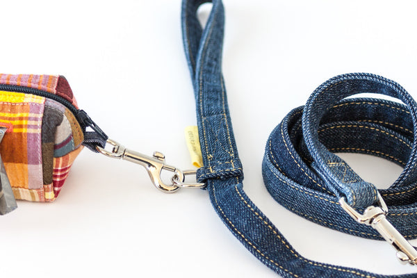 Reclaimed denim leash has a metal accessory ring for attaching a bag dispenser | oxforddogma.com