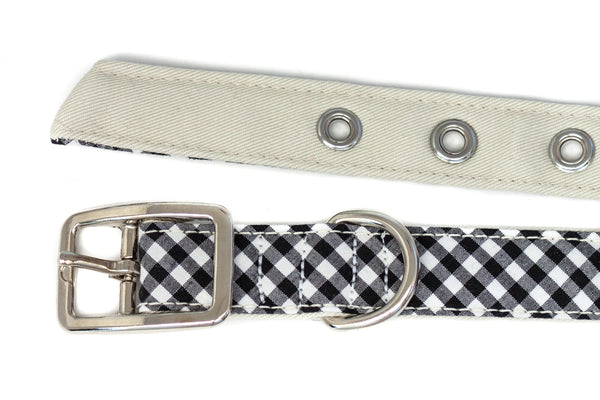 This classic dog collar is handcrafted from reclaimed materials in black and white gingham | oxforddogma.com