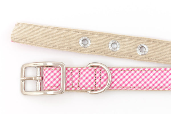 This classic dog collar is handcrafted from reclaimed materials in pink and white gingham | oxforddogma.com