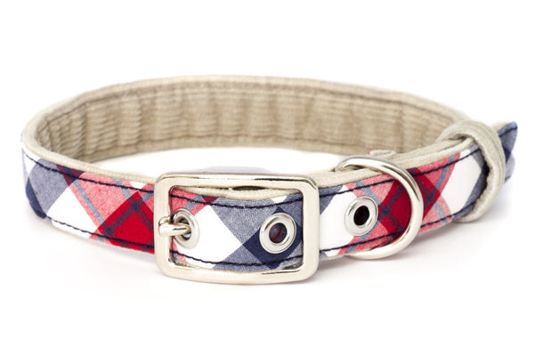 A medium classic dog collar handcrafted from reclaimed materials with a nickel finish metal buckle | oxforddogma.com