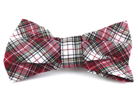 Medium Slip-on Bow Tie for Dog Collar in Red and Green Plaid