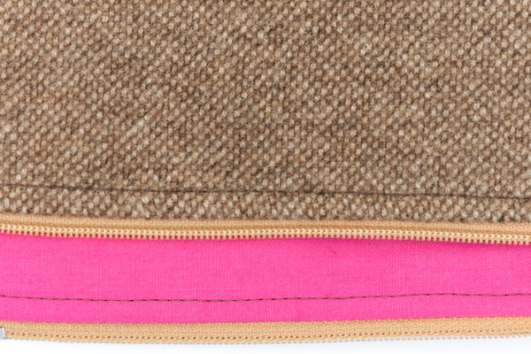 Stylish and refined poo bag dispenser in camel tweed wool with bright pink lining | oxforddogma.com