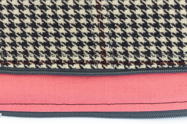 Stylish and refined poo bag dispenser in grey and ivory houndstooth wool with coral pink lining | oxforddogma.com