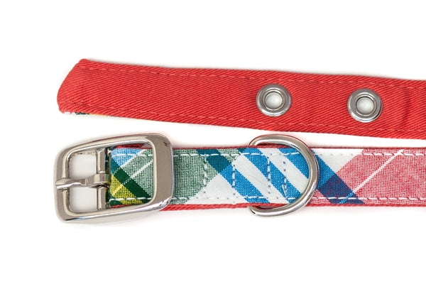 This classic dog collar is handcrafted from reclaimed materials in Madras plaid and salmon pink | oxforddogma.com