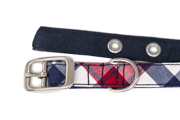 This classic dog collar is handcrafted from reclaimed materials in red, white, and blue | oxforddogma.com