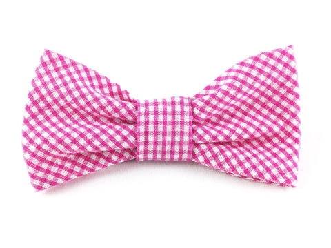 Small Slip-on Bow Tie for Dog Collar in Pink Gingham