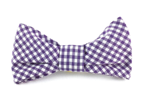 Small Slip-on Bow Tie for Dog Collar in Purple Gingham